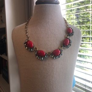Stella & Dot Mae statement necklace red New